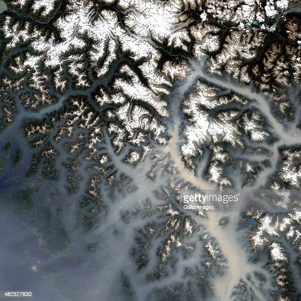 VANCOUVER CANADA JULY 7 A wider satellite view of two large forest fires on July 7 2015 in North Vancouver Canada The forest fires covesr areas of...
