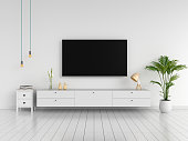 Widescreen TV and sideboard in white living room, 3D rendering