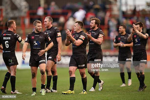 Widnes Vikings celebrate their win over Wakefield Wildcats in the First Utility Super League Round One match between Wakefield Wildcats and Widnes...