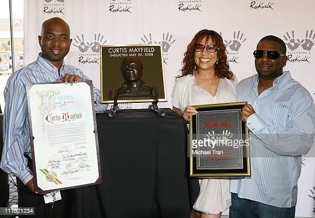 Widow Altheida Mayfield with her sons Kirk Mayfield and Cheaa Mayfield attend the late musician Curtis Mayfield's induction into Hollywood's RockWalk...