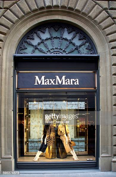 A widow display at the Max Mara women's apparel store on Via Tornabuoni in Florence Italy