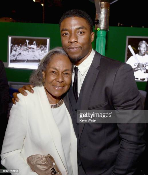 Widow of baseball player Jackie Robinson Rachel Robinson and actor Chadwick Boseman attend the after party for the Los Angeles premiere of Warner...