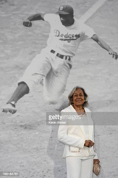Widow of baseball player Jackie Robinson Rachel Robinson attends the Los Angeles Premiere of Warner Bros Pictures' and Legendary Pictures' '42' at...