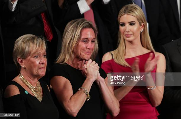 Widow of Fallen Navy Seal Senior Chief William Owens Carryn Owens and Ivanka Trump attend a joint session of the US Congress with US President Donald...