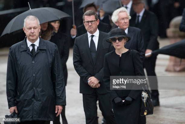 Widow of former German Chancellor Helmut Kohl Maike KohlRichter and Kai Diekmann pay respect to late former Chancellor Helmut Kohl during military...