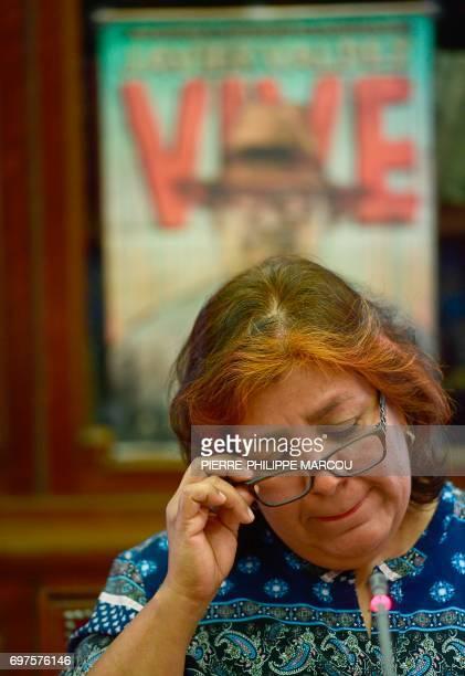 Widow of Mexican journalist Javier Valdez Griselda Triana gestures during a press conference in Madrid on June 19 2017 Valdez who was shot a dozen...