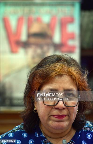Widow of Mexican journalist Javier Valdez Griselda Triana looks on during a press conference in Madrid on June 19 2017 Valdez who was shot a dozen...