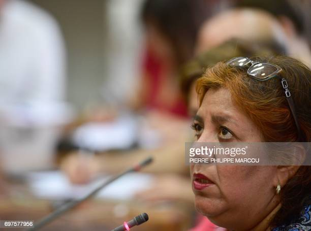 Widow of Mexican journalist Javier Valdez Griselda Triana speaks during a press conference in Madrid on June 19 2017 Valdez who was shot a dozen...