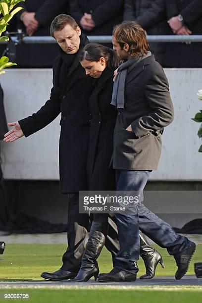 Widow Teresa Enke arrives at the memorial service ahead of Robert Enke's funeral at AWD Arena on November 15 2009 in Hanover Germany Tens of...
