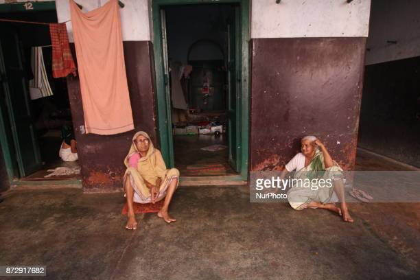 Widows offer rituals of Panchuka Brata at a Dharamsala in the month of Kartik in Bhubaneswar India on 11 November 2017 Devotees and widows offer...
