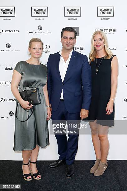 Wiebke Schillberg Manuel Farrokh and Laura Schreier attend the Platform Fashion Selected show during Platform Fashion July 2016 at Areal Boehler on...