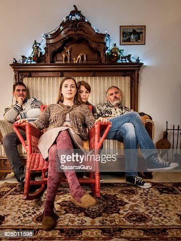 Wierd Christmas Family Reunion Portrait : Stock Photo