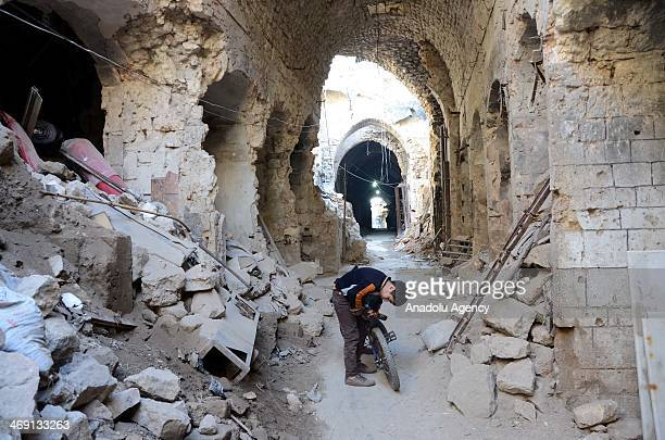 A wiev of debris near the historic Umayyad Mosque destroyed by the shelling in the northern city of Aleppo Syria on February 11 2014