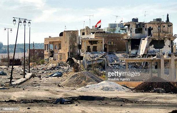 A wiev of the damaged houses in the southern Syrian city of Daraa on October 31 2013 Free Syrian Army fighters who have taken control of the large...
