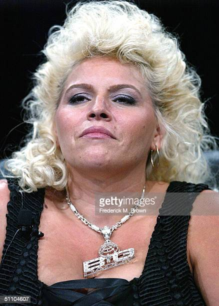 Wife and Business Partner Beth Chapman of 'Dog The Bounty Hunter' speaks with the press at the TCA Press Tour Cable at the Century Plaza Hotel on...
