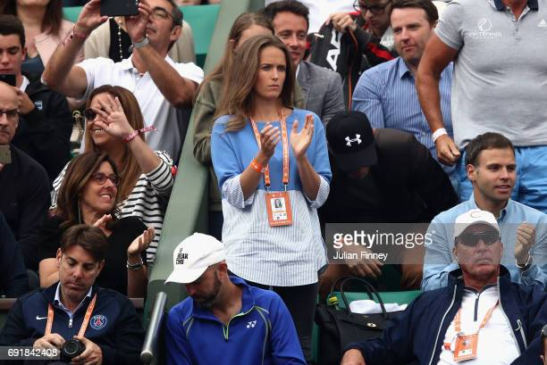 Wife of Andy Murray Kim Sears watches on from the stands during the mens singles third round match between Andy Murray of Great Britain and Juan...