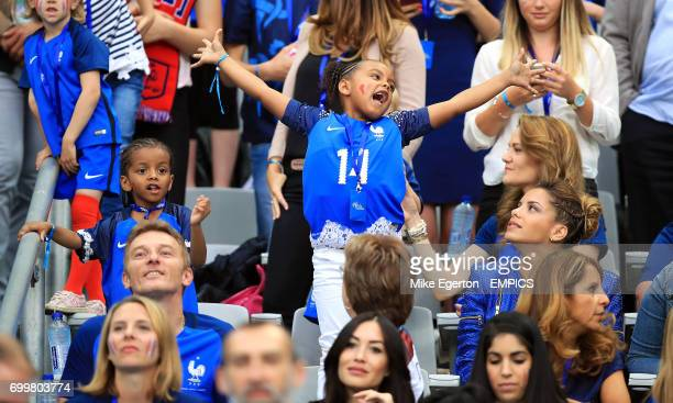 Wife of Blaise Matuidi Isabelle Matuidi in the stands with their daughter