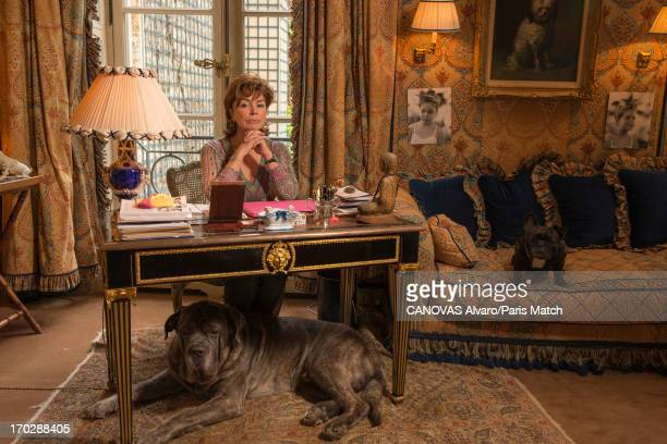 Wife of business man Bernard TapieDominique Tapie is photographed at home for Paris Match on May 31 2013 in Paris France