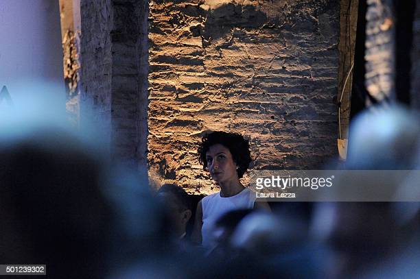 Wife of Italian Prime Minister Agnese Renzi attends the meeting of the Leopolda 2015 on December 13 2015 in Florence Italy The Leopolda an annual...
