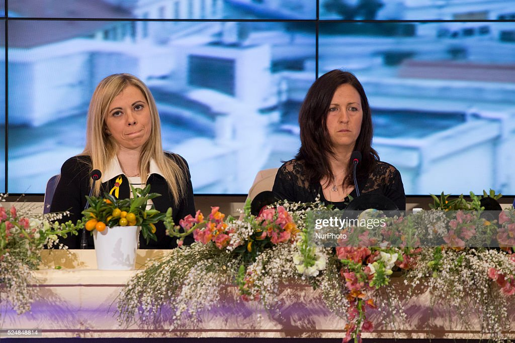 Wife of Salvatore Girone Vania Ardito and the girlfriend of Massimiliano Latorre Paola Moschetti during the 64th San Remo Song Festival 2014 press...