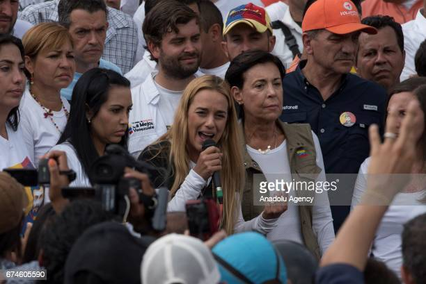 Wife of the Venezuelan opposition imprisoned political leader and activist Lilian Tintori gives an speach after trying to visit her husband Leopoldo...