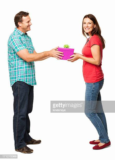Wife Smiling While Receiving a Gift Box - Isolated