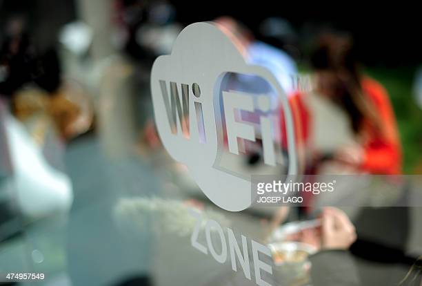 A wifi logo is pictured during the 2014 Mobile World Congress in Barcelona on February 26 2014 The Mobile World Congress runs from the 24 to 27...
