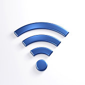 WiFi Wireless Symbol. 3D Blue Render Illustration in whihte background