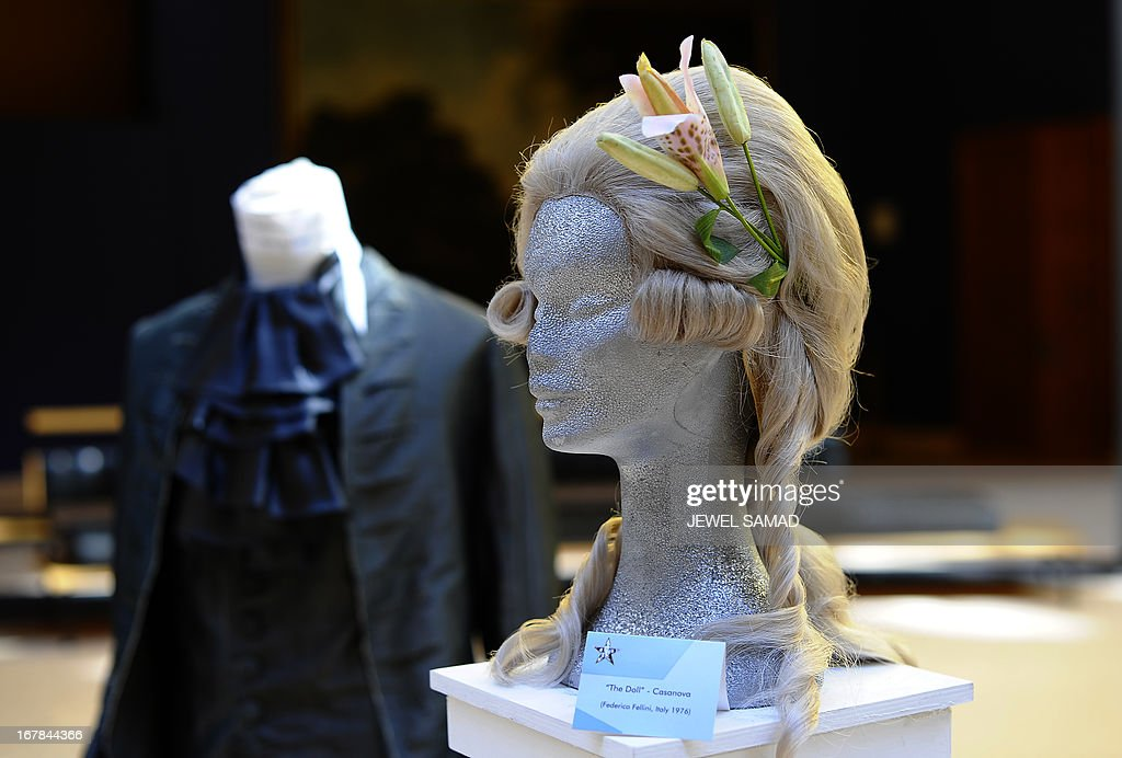 A wig worn by 'The doll' in Federico Fellini's Casanova movie is displayed during an exhibition at the Italian embassy in Washington, DC, on May 1, 2013. The exhibition, titled 'Star Wigs La Mano Italian Crea' is organized to give tribute to Italian cultural and historical heritage of creating a character in the film industry, showcased wigs and costumes used in historical films and actors such as Sofia Coppola's Marie Antoniette, Fellini's Casanova, Visconti's Angelica, Jane Fonda's Barbarella, Nicole Kidman's Moulin Rouge and Elizabeth Taylor's Cleopatra. AFP PHOTO/Jewel Samad