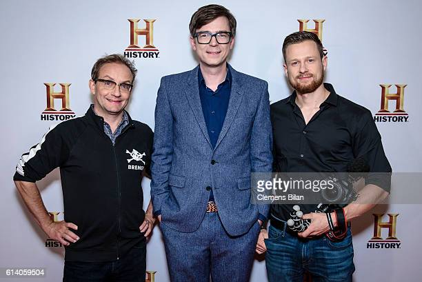 Wigald Boning Ralph Caspers and Fritz Meinecke attend the preview screening of the new series 'Wigald Fritz Die Geschichtsjaeger' by the German TV...