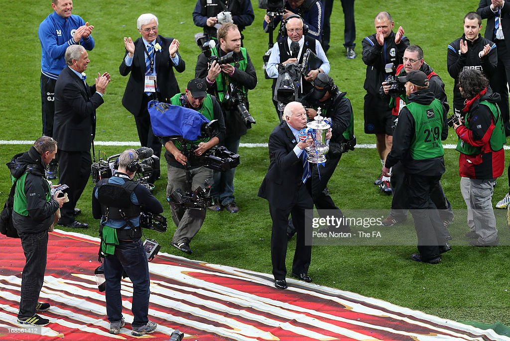 Wigan Athletic Chairman Dave Whelan celebrates victory in the FA Cup with Budweiser Final match between Manchester City and Wigan Athletic at Wembley Stadium on May 11, 2013 in London, England.