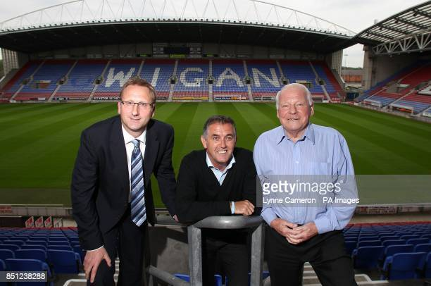 Wigan Athletic chief executive Jonathan Jackson new manager Owen Coyle and Chairman Dave Whelan following the press conference