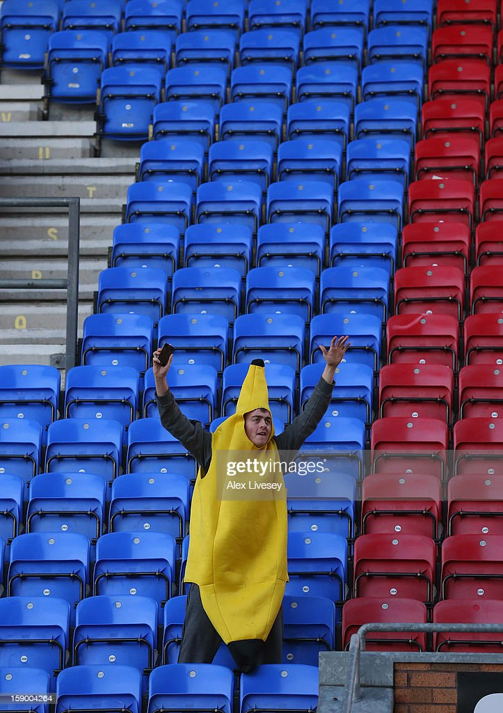A Wigan Athletic fan dressed as a banana shows his support during the Budweiser FA Cup Third Round match between Wigan Athletic and AFC Bournemouth at DW Stadium on January 5, 2013 in Wigan, England.
