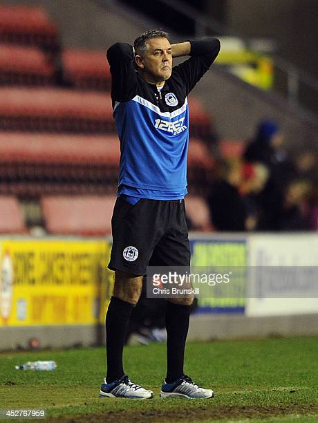 Wigan Athletic manager Owen Coyle reacts during the Sky Bet Championship match between Wigan Athletic and Derby County at DW Stadium on December 01...