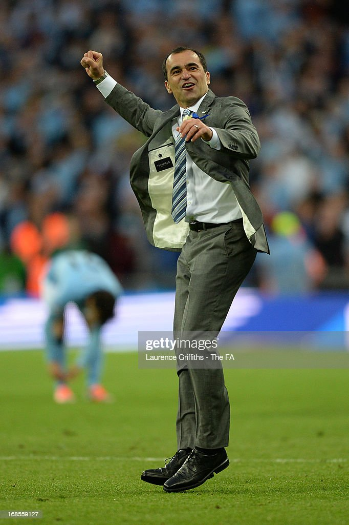 Wigan Athletic manager Roberto Martinez celebrates after victory in the FA Cup with Budweiser Final match between Manchester City and Wigan Athletic at Wembley Stadium on May 11, 2013 in London, England.