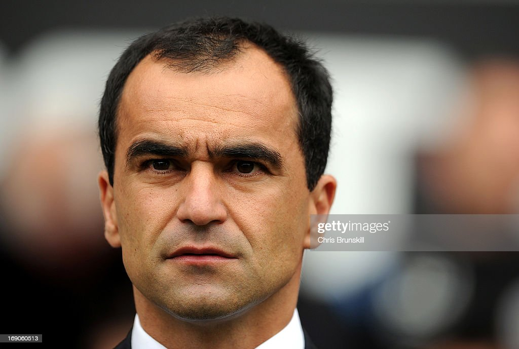 Wigan Athletic manager Roberto Martinez looks on during the Barclays Premier League match between Wigan Athletic and Aston Villa at DW Stadium on May 19, 2013 in Wigan, England.