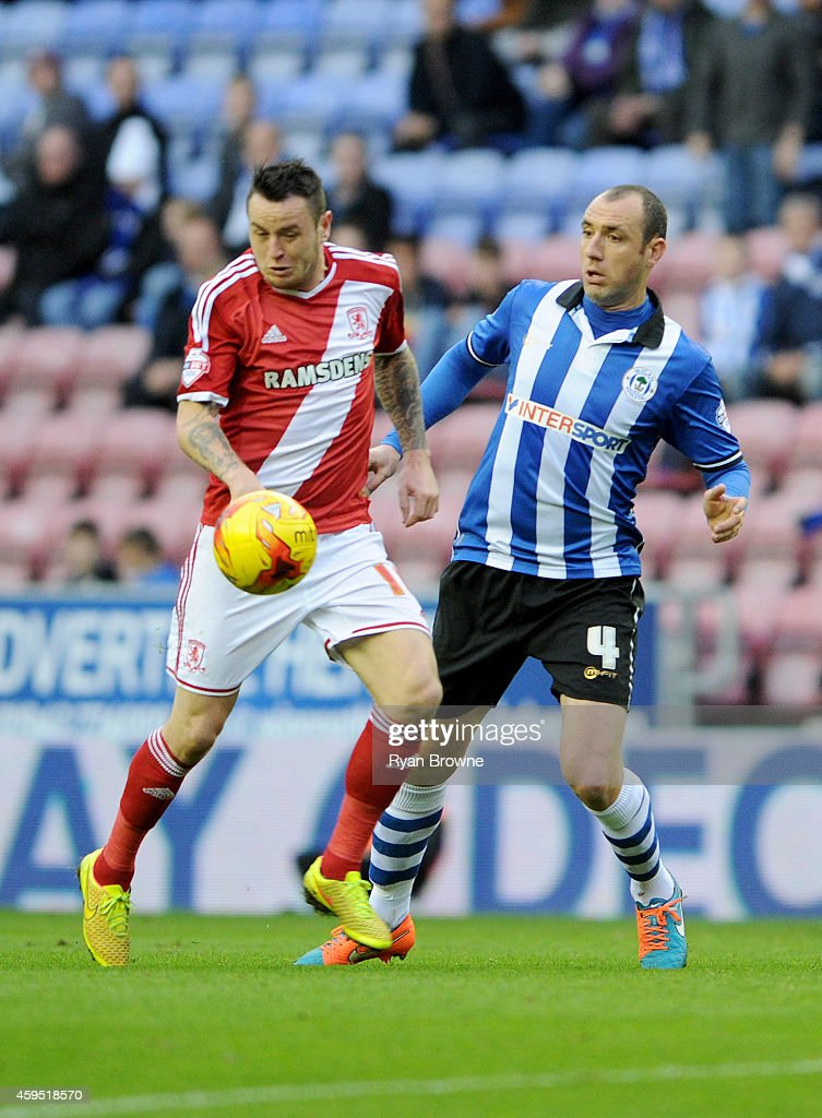 Wigan Athletics Ivan Ramis vies with Middlesbroughs Lee Tomlin during the Sky Bet Championship match between Wigan Athletic and Middlesbrough at DW...