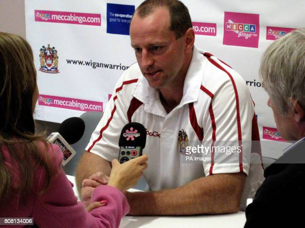 Wigan coach Michael Maguire during the Press Conference at the DW Stadium Wigan