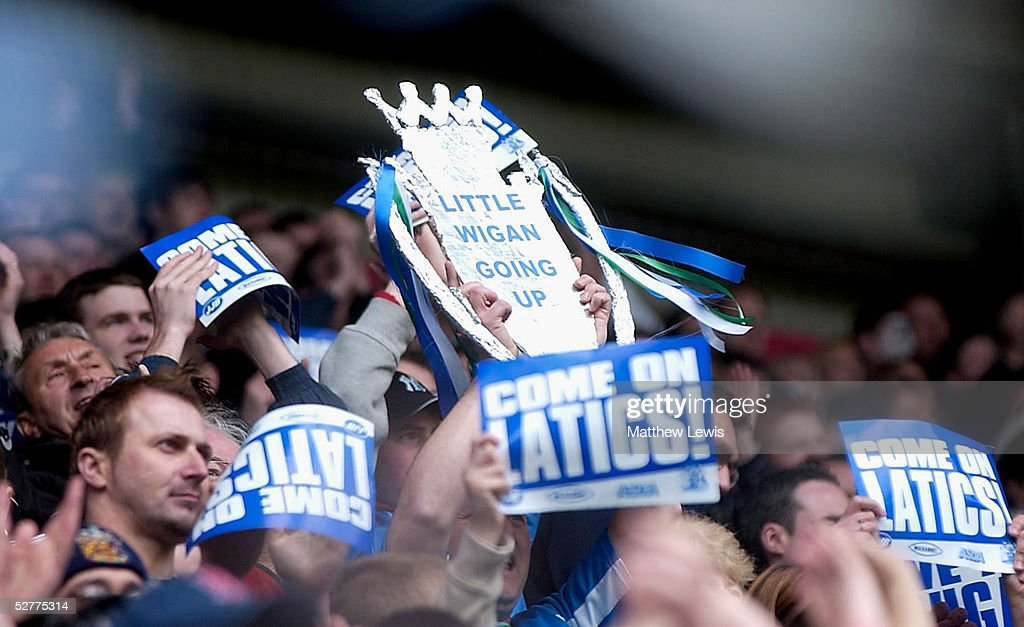 Wigan fans shows their support during the CocaCola Championship match between Wigan Athletic and Reading at the JJB Stadium on May 8 2005 in Wigan...