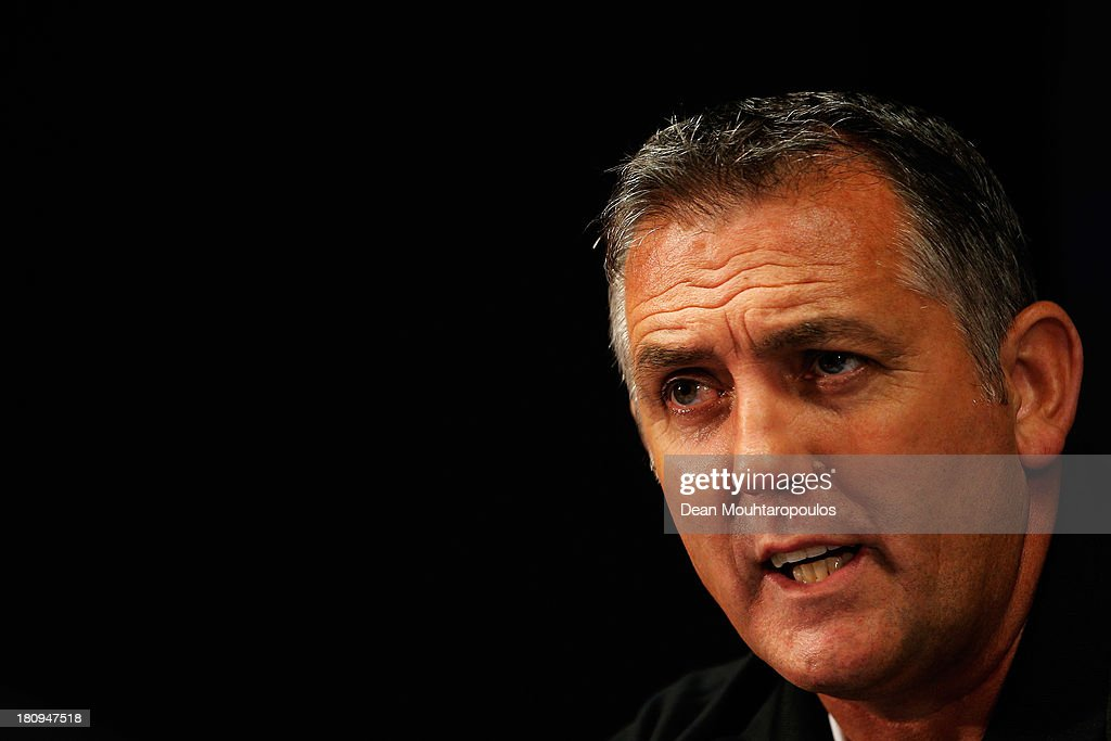Wigan Manager Owen Coyle speaks to the media during the Wigan Athletic Training Session/Press Conference prior to the Europa League match between SV...