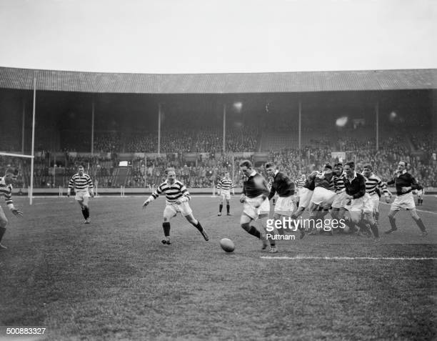 A Wigan player fails to hold a pass during the first Challenge Cup Final between Wigan and Dewsbury at Wembley Stadium London 4th May 1929 Wigan won...
