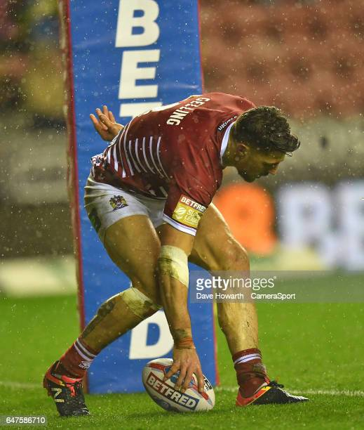Wigan Warriors' Anthony Gelling scores his sides 1st try during the Betfred Super League Round 3 match between Wigan Warriors and Leigh Centurions at...