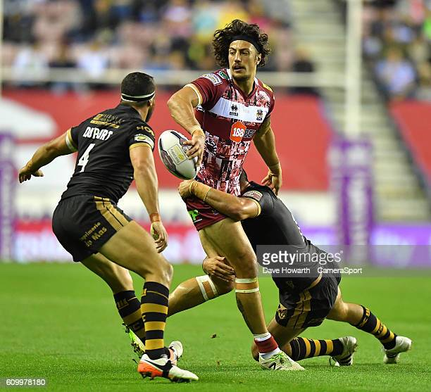 Wigan Warriors' Anthony Gelling under pressure during the First Utility Super League Super 8s Round 7 match between Wigan Warriors and Catalans...