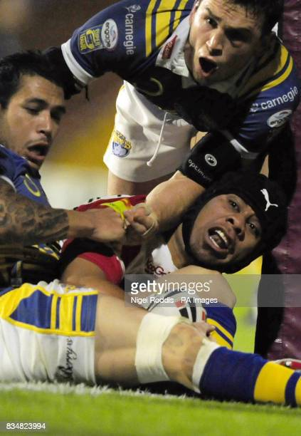 Wigan Warrior's Iafeta Paleaaesina scores a try against Leeds Rhinos during the Engage Super League Grand Final Eliminator at Headingley Carnegie...