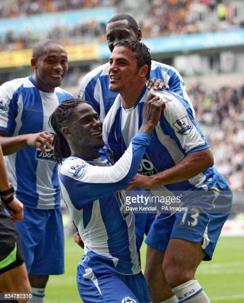 Wigan's Amr Zaki celebrates his goal during the Barclays Premier League match at the Kingston Communications Stadium Hull