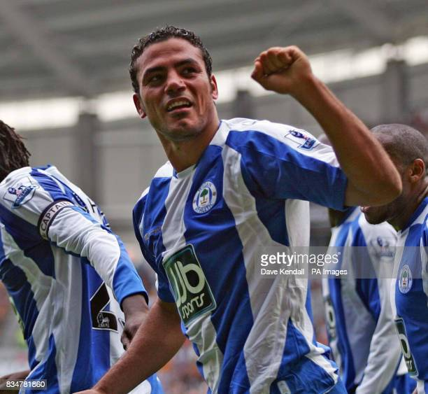 Wigan's Amr Zaki celebrates his second goal during the Barclays Premier League match at the Kingston Communications Stadium Hull