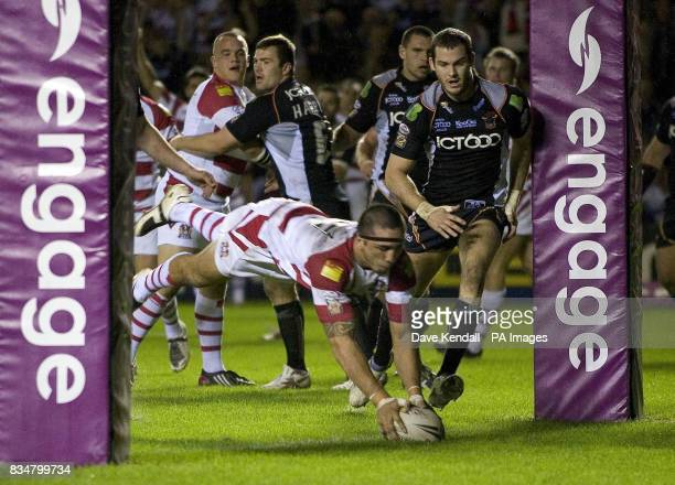 Wigan's Harrison Hansen goes over the line to score their second try during the Engage Super League Elimination Playoff at Stobart Stadium Widnes