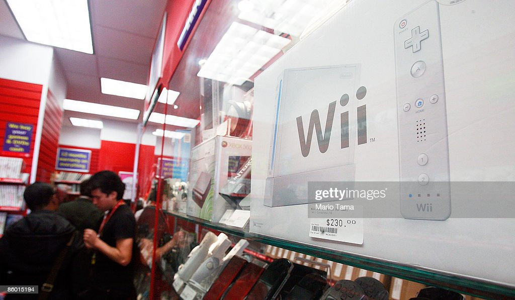 A Wii is seen with other video games for sale in a CeX store April 17, 2009 in New York City. Video game sales in the U.S. fell more than expected last month and were generally flat in the first quarter when compared with 2008 due in part to the recession and fewer big game launches. The CeX store reported average sales for the month which they attribute to demand for used game sales.