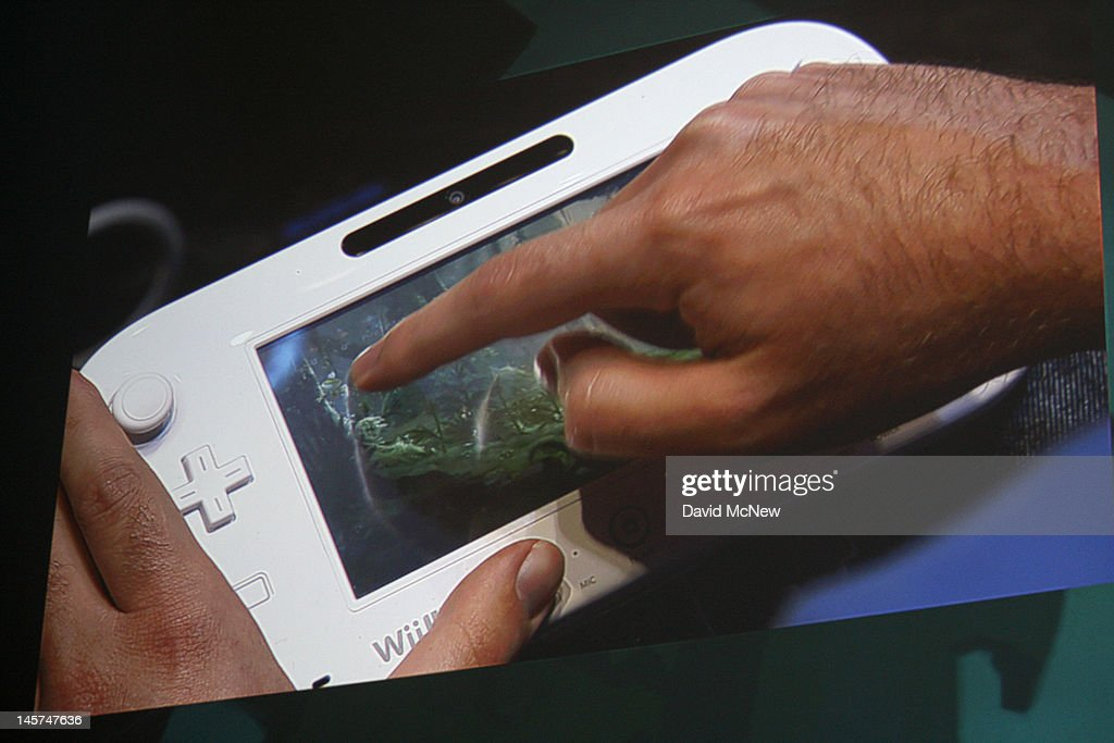 A Wii U Pro controller being used on stage is projected at the Ubisoft press conference on the eve of the Electronic Entertainment Expo (E3) on June 4, 2012 in Los Angeles, California. E3 is the most important yearly trade show the $78.5 billion videogame industry.