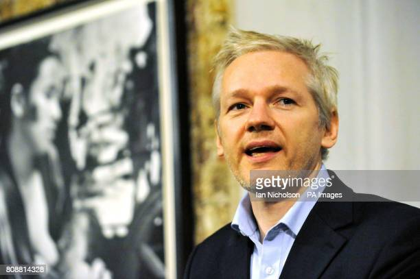 WikiLeaks founder Julian Assange addresses the media at the Frontline Club in London prior to accepting two CDs from former Swiss banker and...
